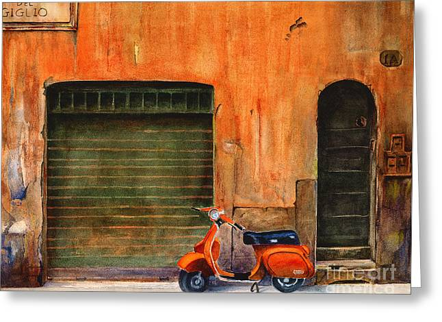 Florence Greeting Cards - The Orange Vespa Greeting Card by Karen Fleschler