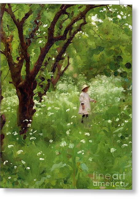 Wild Orchards Paintings Greeting Cards - The Orchard  Greeting Card by Thomas Cooper Gotch
