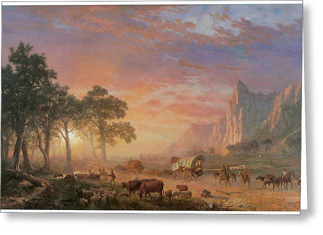 Western States Greeting Cards - The Oregon Trail Greeting Card by Albert Bierstadt