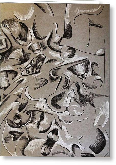 Surreal Landscape Drawings Greeting Cards - The Orgy Greeting Card by Nina Efk