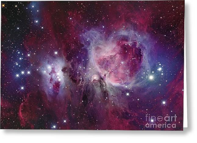 Colorful Cloud Formations Greeting Cards - The Orion Nebula With Reflection Nebula Greeting Card by Roberto Colombari