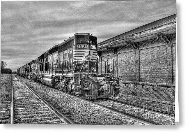 The Horse Greeting Cards - The Other Iron Horse Locomotive 1637 Norfolk Southern Greeting Card by Reid Callaway