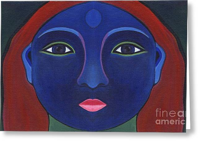 The Other Side - Full Face 1 Greeting Card by Helena Tiainen