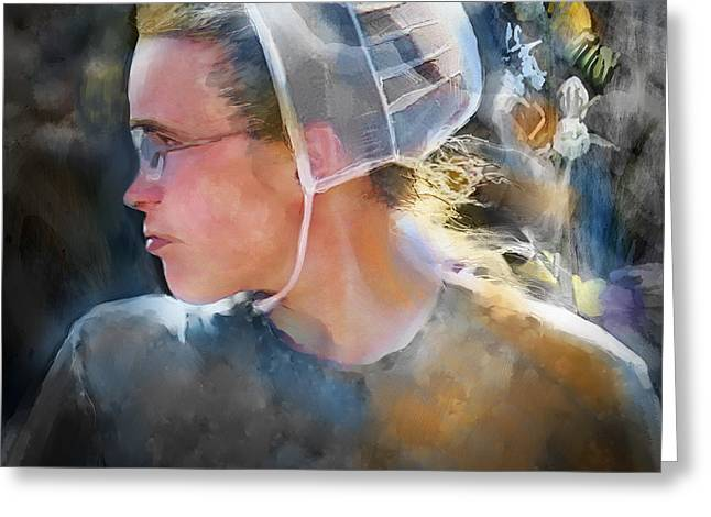 Amish Girl Greeting Cards - The Other Side Of Life... Greeting Card by Bob Salo