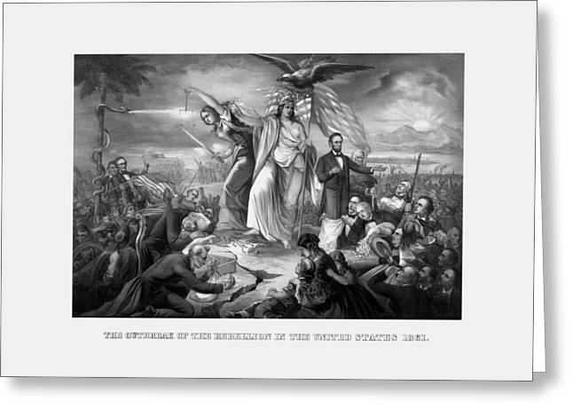 The Outbreak Of The Rebellion In The United States Greeting Card by War Is Hell Store