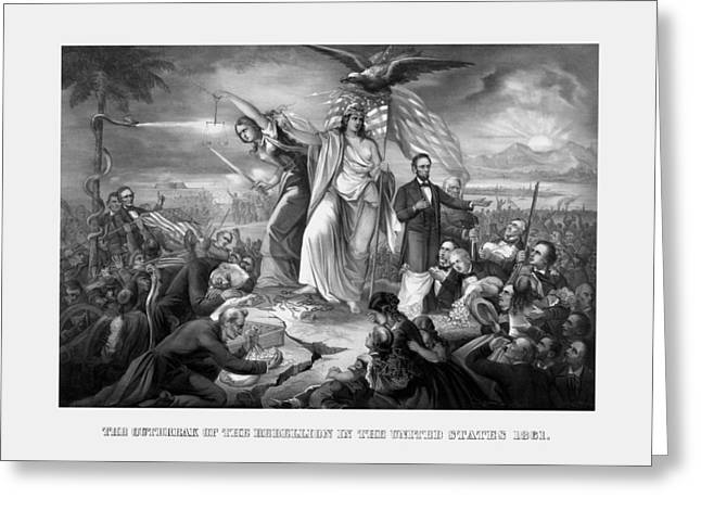 American Civil War Drawings Greeting Cards - The Outbreak Of The Rebellion In The United States Greeting Card by War Is Hell Store