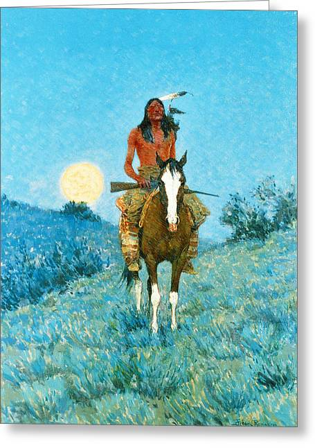 West Indian Greeting Cards - The Outlier  Greeting Card by Frederic Remington