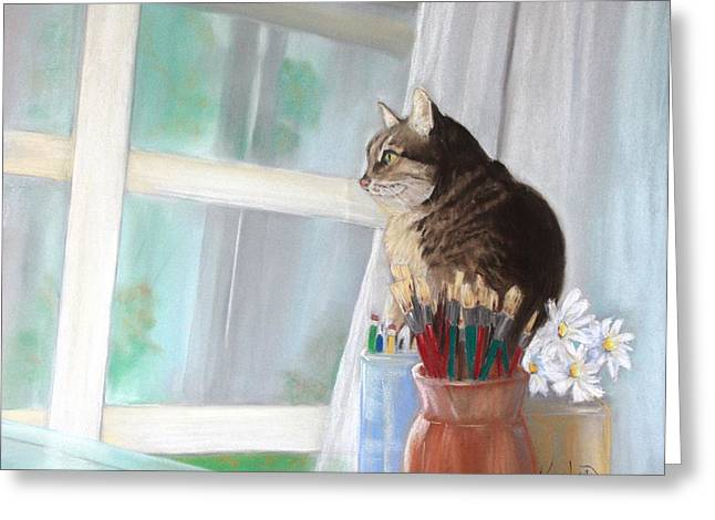 Interior Still Life Pastels Greeting Cards - The Outside World Awaits Greeting Card by Kathleen Hartman