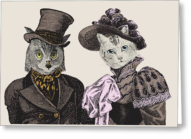 The Owl And The Pussycat Greeting Card by Eclectic at HeART