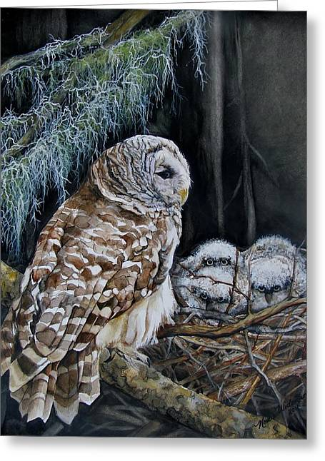 Bird On Tree Greeting Cards - The Owls Nest Greeting Card by Nonie Wideman