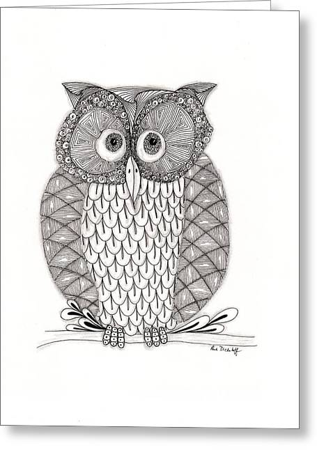 Ink Drawing Greeting Cards - The Owls Who Greeting Card by Paula Dickerhoff