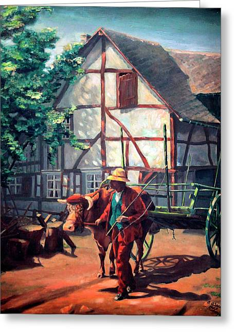Eifel Greeting Cards - The Ox Cart Greeting Card by Otto Werner