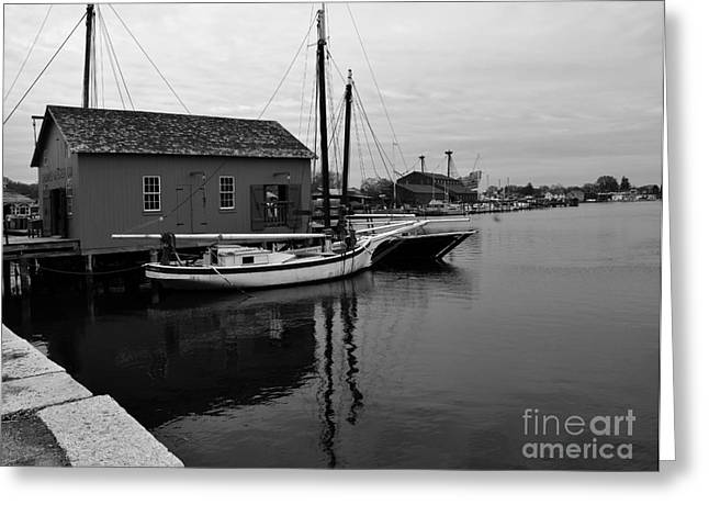 New England Village Greeting Cards - The Oyster Boats Greeting Card by Leslie M Browning