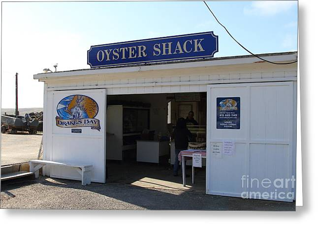 Oysters Greeting Cards - The Oyster Shack at Drakes Bay Oyster Company in Point Reyes California . 7D9832 Greeting Card by Wingsdomain Art and Photography
