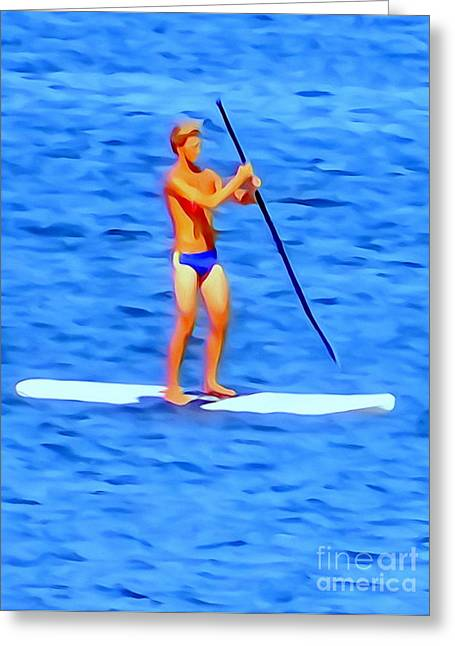 Abstract Digital Photographs Greeting Cards - The  Paddleboarder Greeting Card by Ed Weidman