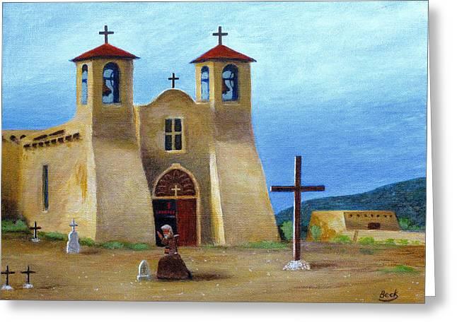 Taos Greeting Cards - The Padres Prayer Greeting Card by Gordon Beck
