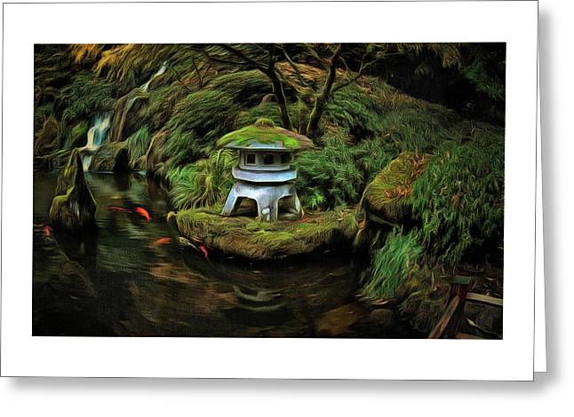The Pagoda And The Koi Greeting Card by Thom Zehrfeld
