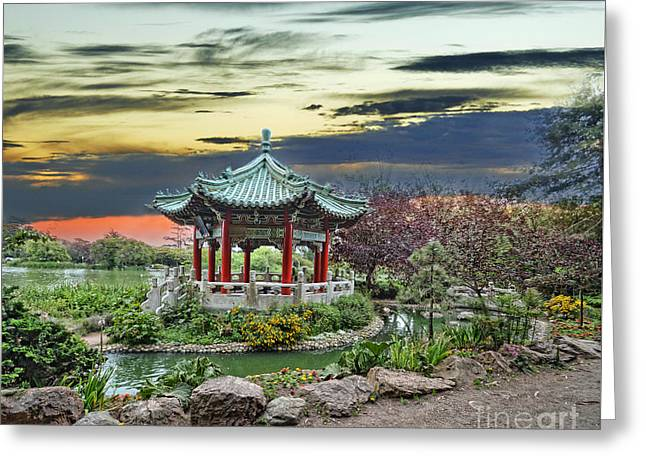 San Francisco Bay Greeting Cards - The Pagoda by Stow Lake in Golden Gate Park Greeting Card by Jim Fitzpatrick