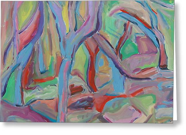 Colrful Greeting Cards - The Painted Forest Greeting Card by Marlene Robbins