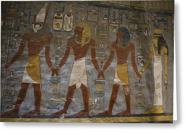 Recently Sold -  - Horus Greeting Cards - The Painted Walls Inside A Tomb Greeting Card by Taylor S. Kennedy