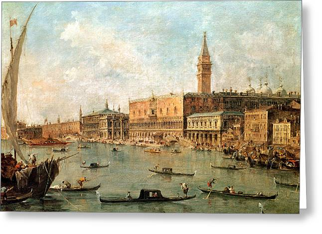 Campanile Greeting Cards - The Palace and the Molo from the Basin of San Marco Greeting Card by Francesco Guardi