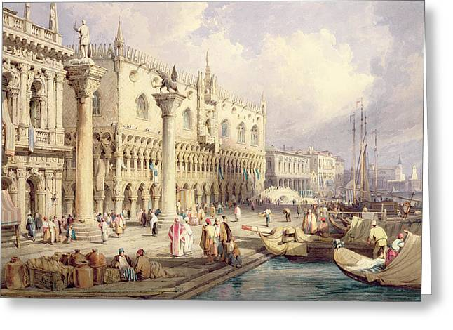 Historic Statue Paintings Greeting Cards - The Palaces of Venice Greeting Card by Samuel Prout