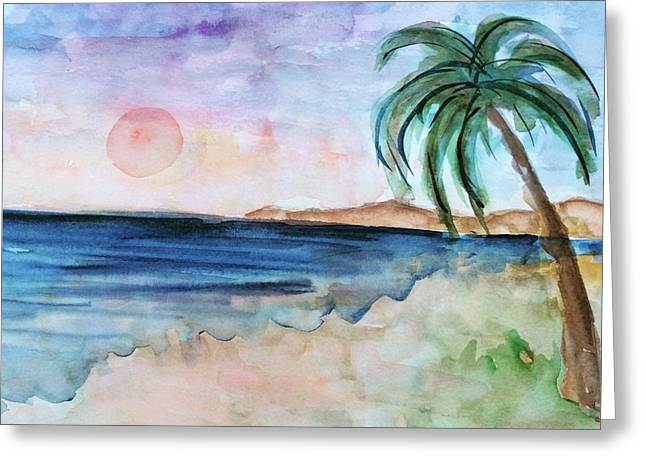 Abstract Beach Landscape Greeting Cards - The Palm Tree Greeting Card by Christina Arsenis