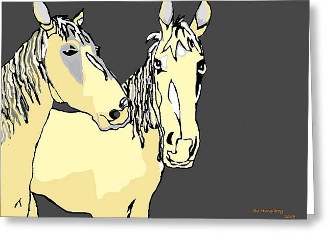Subtle Colors Greeting Cards - The Palomino Brothers Greeting Card by Su Humphrey