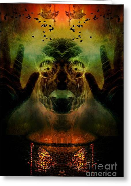 Hallucination Greeting Cards - By the light of the cauldron Greeting Card by Heather King