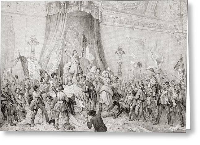 Citizens Drawings Greeting Cards - The Paris Revolution Of 1848, The Mob Greeting Card by Ken Welsh