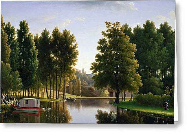 Lake Paintings Greeting Cards - The Park at Mortefontaine Greeting Card by Jean Bidauld