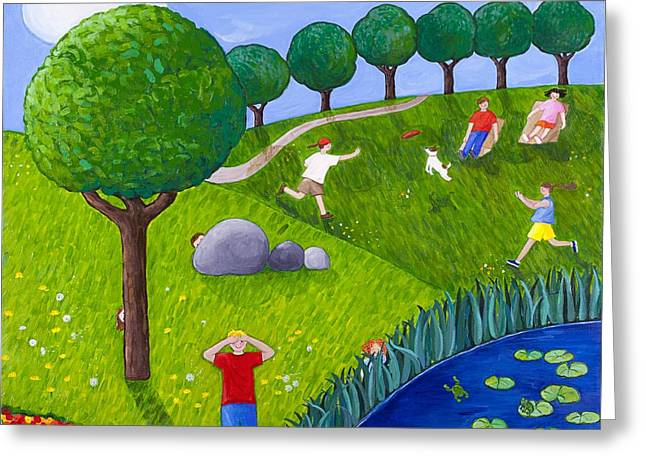 Slide Paintings Greeting Cards - The Park number 2 of 3 Greeting Card by Barbara Esposito