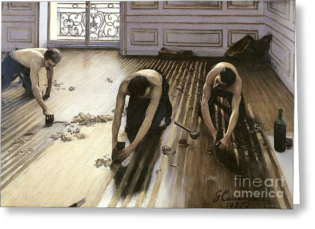 Floorboards Greeting Cards - The Parquet Planers Greeting Card by Gustave Caillebotte