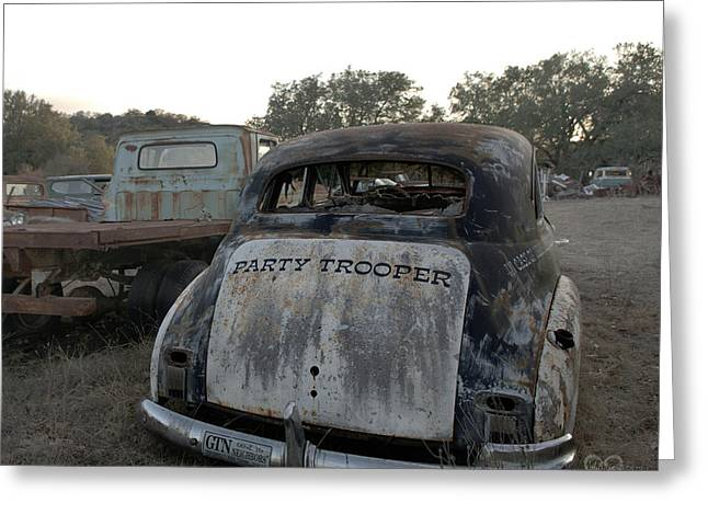 Rusted Cars Greeting Cards - The Party Patrol Greeting Card by Karen Musick