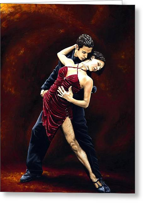 Embracing Greeting Cards - The Passion of Tango Greeting Card by Richard Young