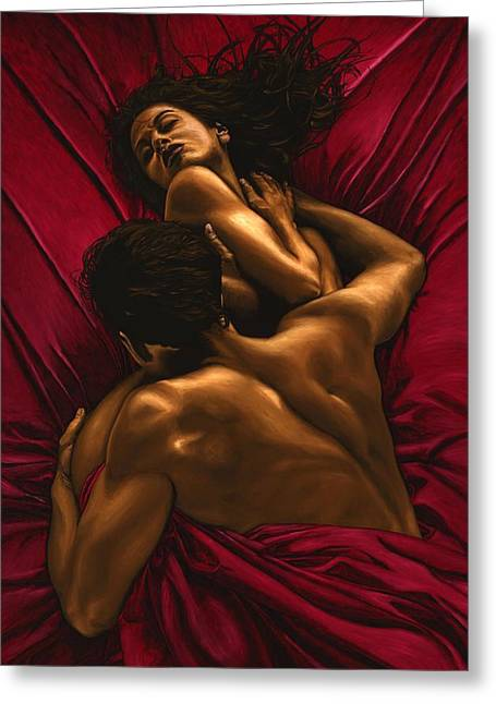 Nude Couple Greeting Cards - The Passion Greeting Card by Richard Young