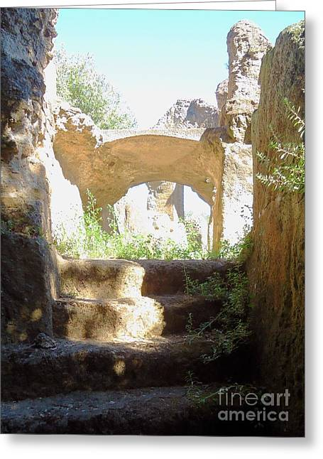Stepping Stones Greeting Cards - The Past Beckons in Roman Ruins Greeting Card by Barbie Corbett-Newmin