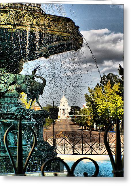 Flowing Fountain Greeting Cards - The Past Flows Through Here Greeting Card by Greg Sharpe