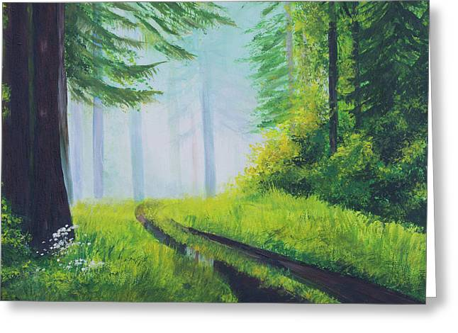 The Path In The Woods. Forest In Spring. Greeting Card by Elena Pavlova