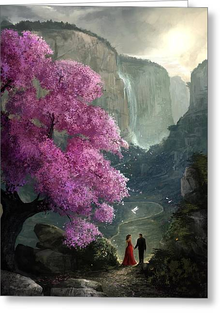 Cherry Blossoms Digital Art Greeting Cards - The Path Greeting Card by Steve Goad