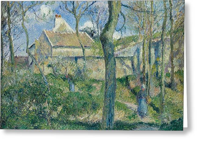 The Path To Les Pouilleux Pontoise Greeting Card by Camille Pissarro
