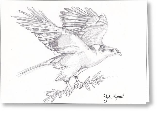 Olive Drawings Greeting Cards - The Peace Offering Greeting Card by John Keaton