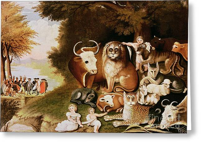 Naive Art Greeting Cards - The Peaceable Kingdom Greeting Card by Edward Hicks