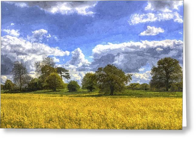 Farmers Field Digital Art Greeting Cards - The Peaceful Farm Art Greeting Card by David Pyatt