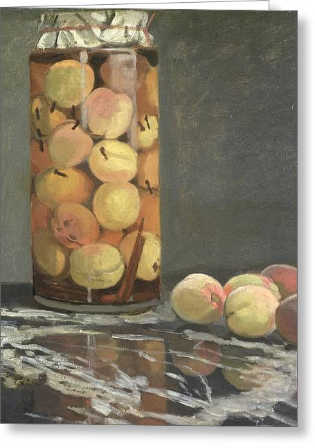 Marble Top Table Greeting Cards - The Peach Glass Greeting Card by Claude Monet