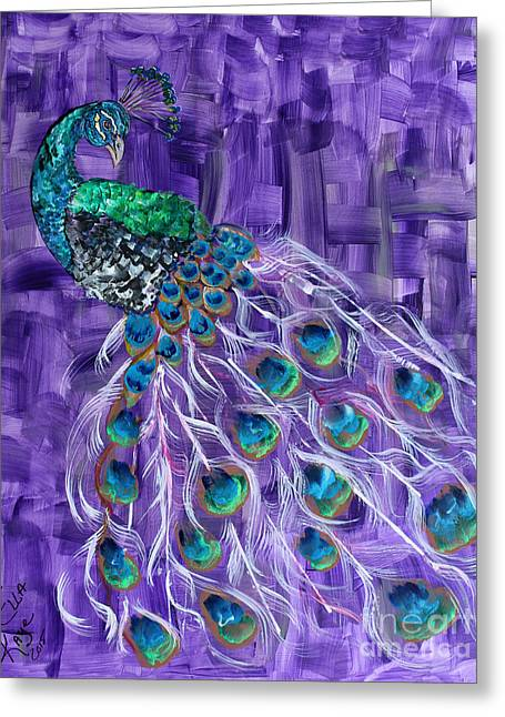 Popular Art Greeting Cards - The Peacock Painting Greeting Card by Ella Kaye Dickey