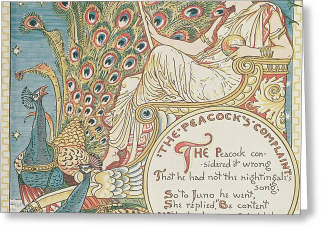 Goddess Art Greeting Cards - The Peacocks Complaint Greeting Card by English School