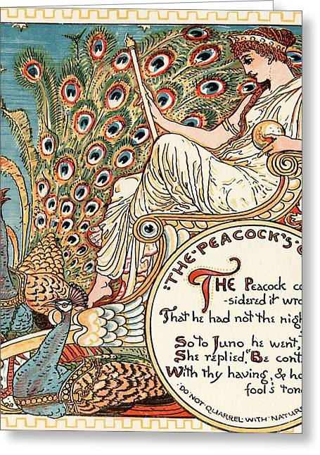The Peacocks Complaint, From The Book Greeting Card by Vintage Design Pics