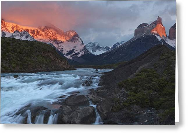 Geological Formations Greeting Cards - The Peaks Of Torres Del Paine Glow Greeting Card by Maria Stenzel