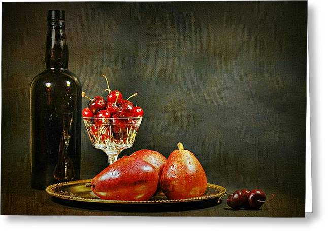 Fruit And Wine Greeting Cards - The Pear Tray Greeting Card by Diana Angstadt